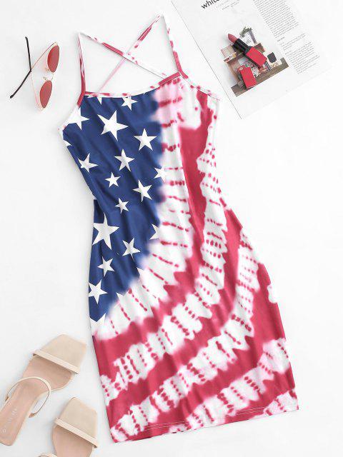Amerikanische Flagge Krawattenfärbendes Schnürung Cami Kleid - Rot S Mobile