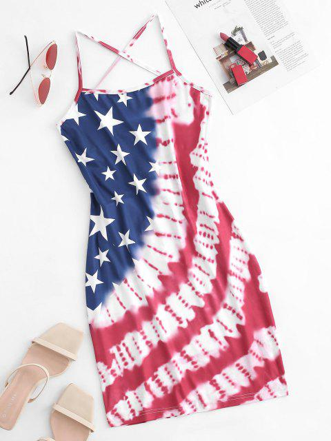 women's American Flag Tie Dye Lace Up Cami Dress - RED XL Mobile