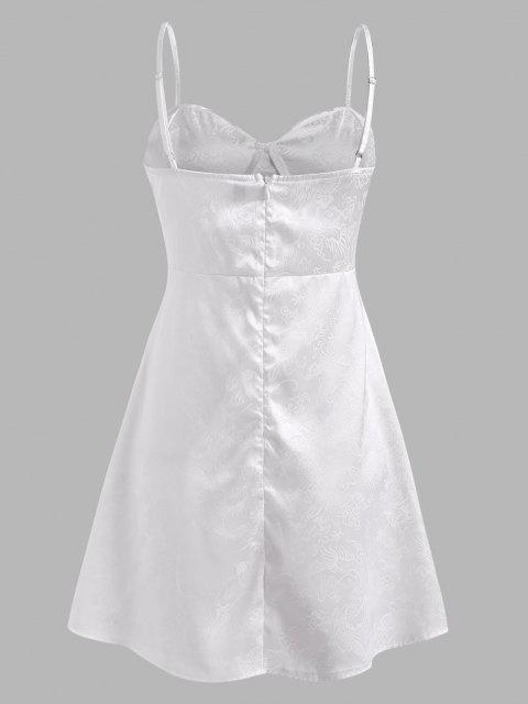 Spaghettibügel Drache Jacquard Bustier Kleid - Weiß M Mobile