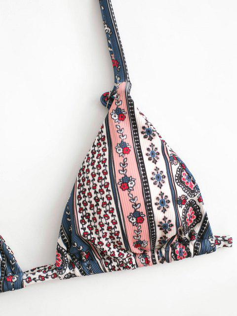 fashion ZAFUL Ribbed Boho Floral Tie String Bikini Swimwear - DEEP BLUE L Mobile