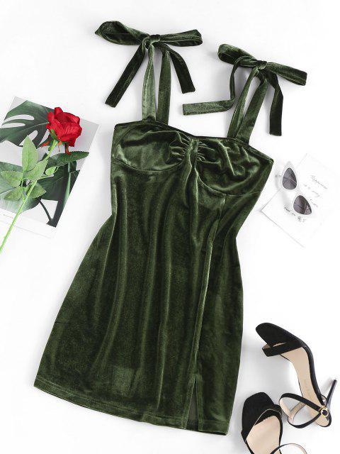 ZAFUL Gebundenes Schulterfreies Kleid mit Schlitz und Passen Sie Ihre Verschiedenen Kleider - Dunkelgrün XL Mobile