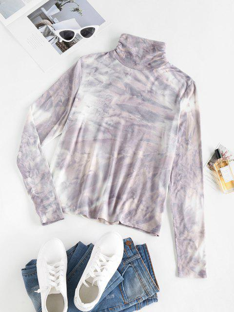ZAFUL Krawattenfärbender Geraffte Hoher Kragen T-Shirt - Hellgrau S Mobile