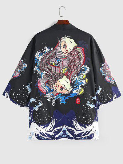 ZAFUL Koi Fish Ocean Waves Print Kimono Cardigan - Black M
