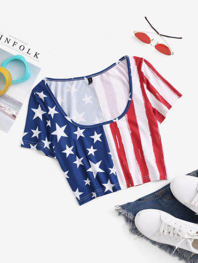 T-Shirt Corta Con Stampa Bandiera Americana - Blu L