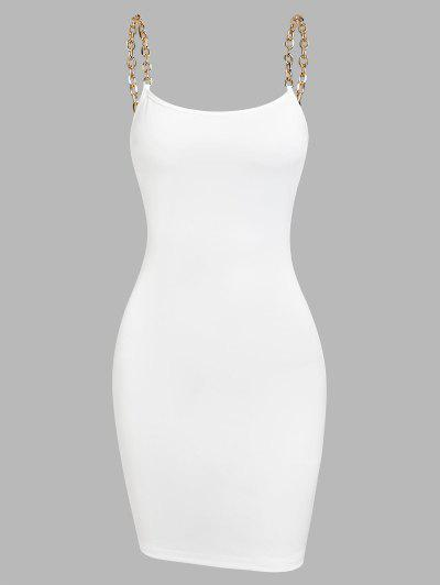 ZAFUL Chain Straps Mini Slinky Dress - White M