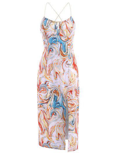 Tie Swirl Print Split Hem Midi Dress - Multi S