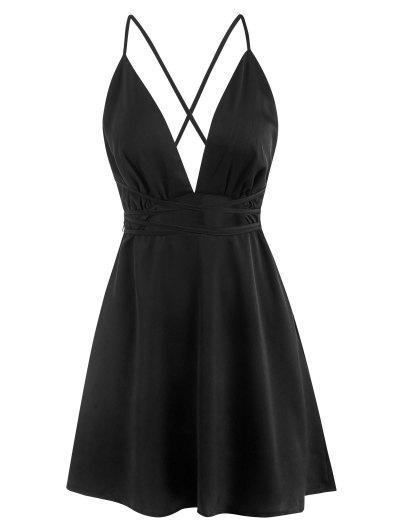 Plunge Wrap-tie Backless Dress - Black L