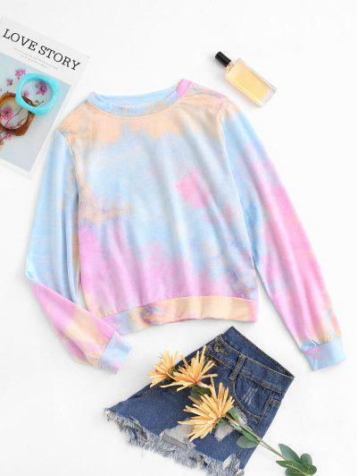 Tie Dye Print Pullover Sweatshirt - Multi M