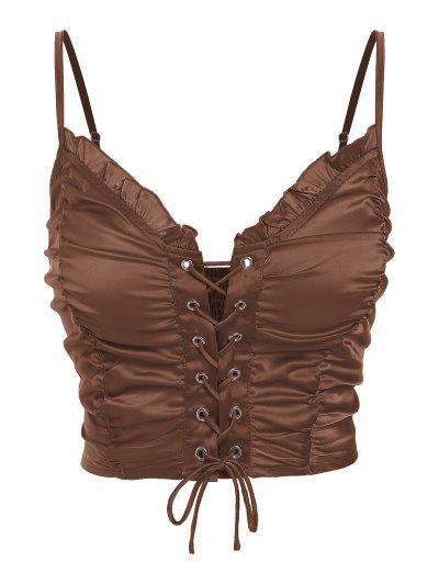 ZAFUL Ruched Lace Up Smocked Crop Top - Deep Coffee S