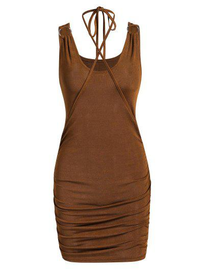 Jersey-knit Rings Ruched Slinky Bodycon Dress - Deep Coffee Xl