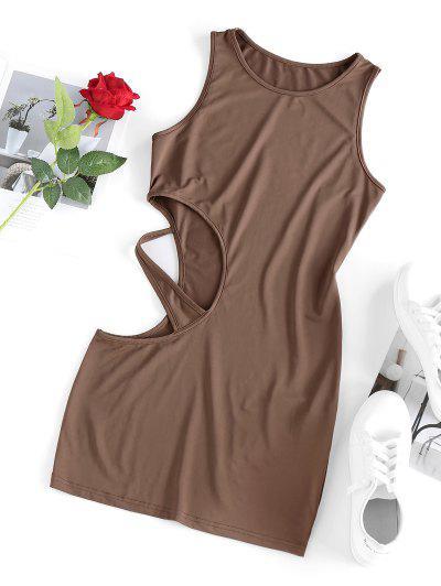 ZAFUL Cut Out Mini Bodycon Dress - Coffee S