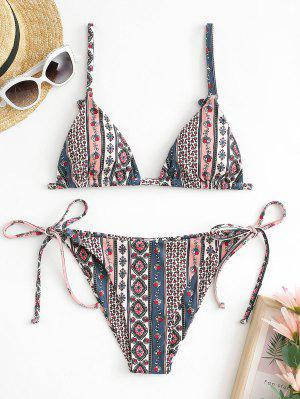 zaful ZAFUL Ribbed Boho Floral Tie String Bikini Swimwear