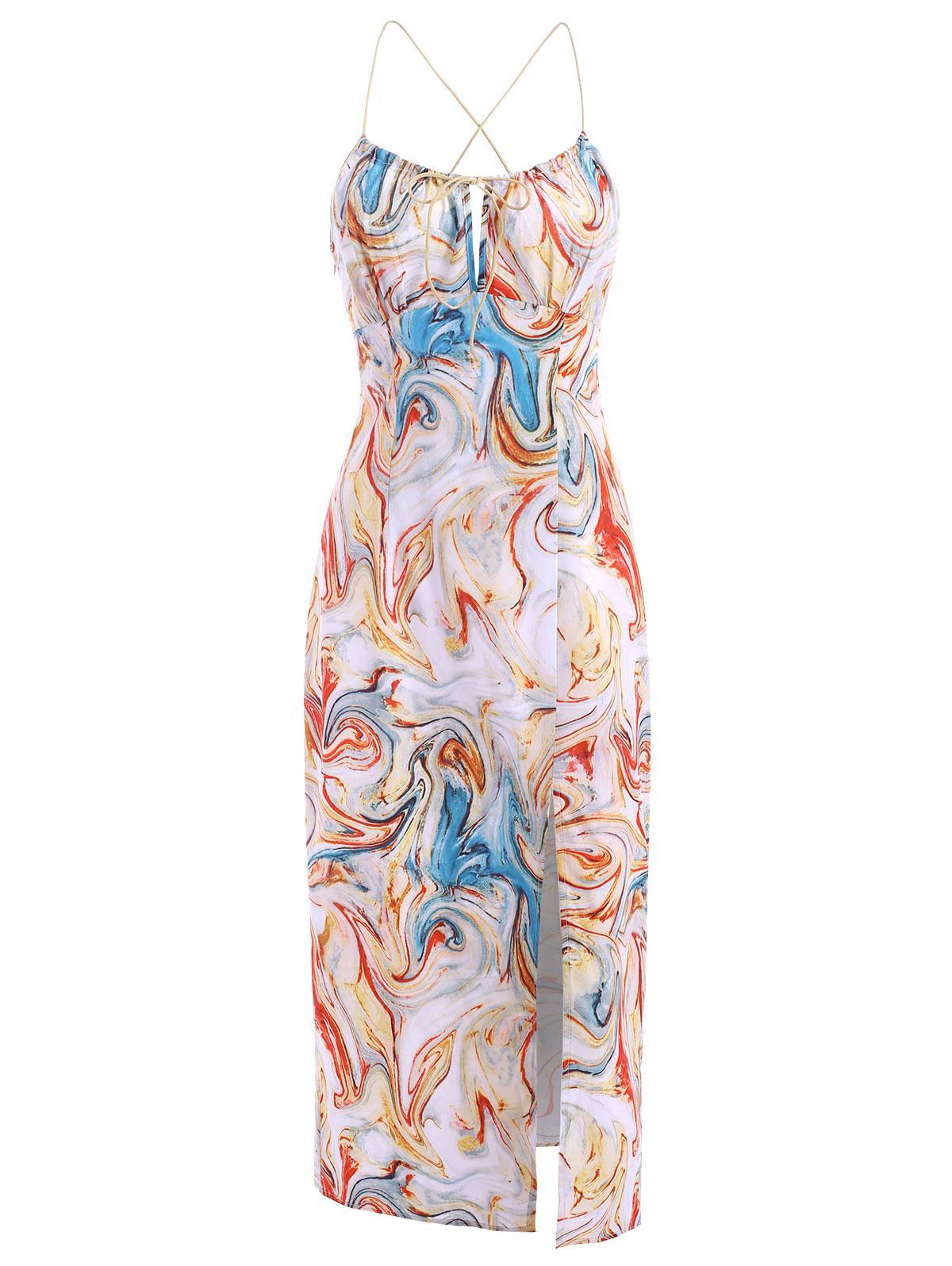 Tie Swirl Print Split Hem Midi Dress