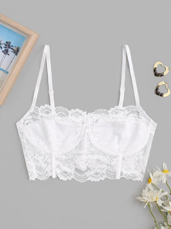 buy Lace Corset Style Sheer Bralette Top - WHITE S