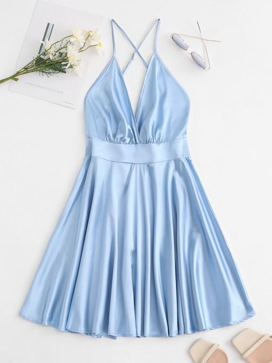 women Satin Cross Back Knotted Slip Dress - LIGHT BLUE S