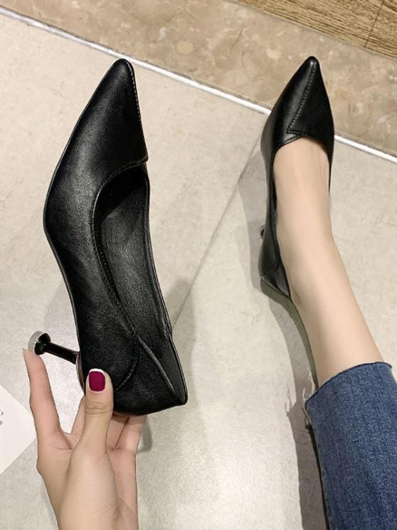 Pointed Toe Overlap Spool Heel Pumps - أسود الاتحاد الأوروبي 37