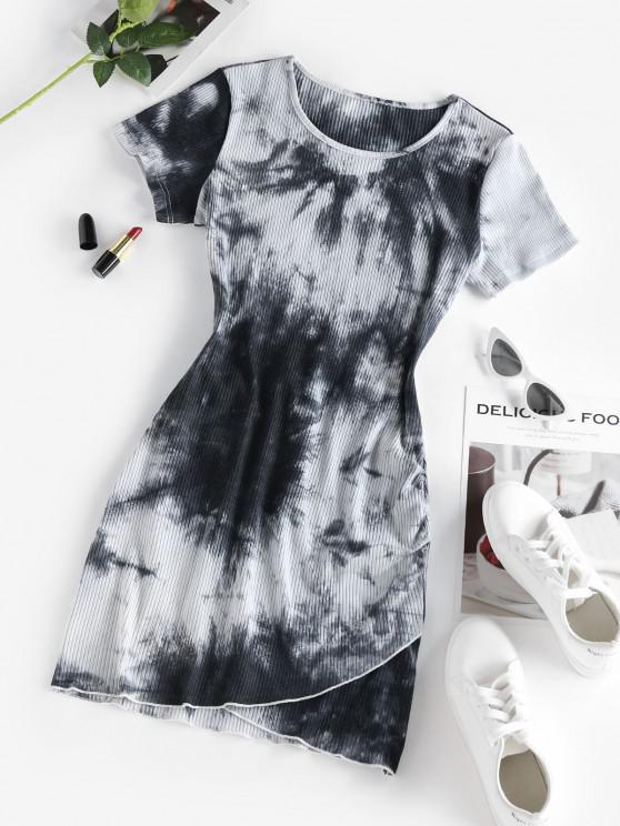 best ZAFUL Tie Dye Ribbed Tulip Hem Dress - WHITE M