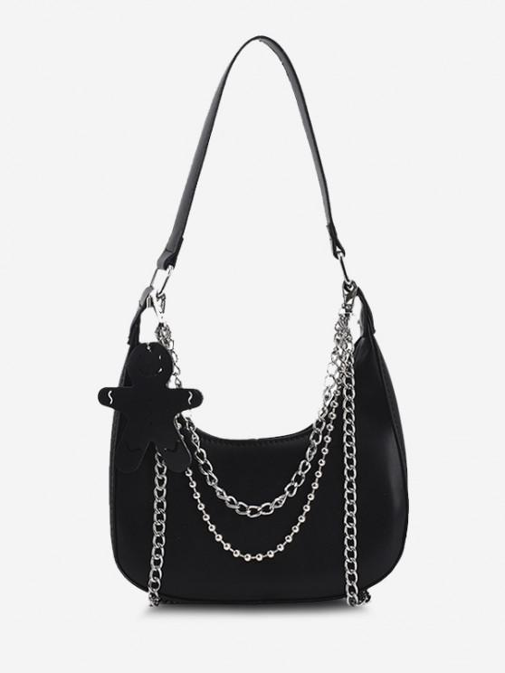 Double Chain Embellished Shoulder Bag With Pendant - أسود