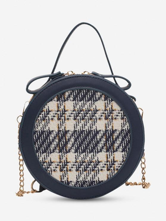 Round Tweed Spliced Top Handle Chain Crossbody Bag - ازرق غامق