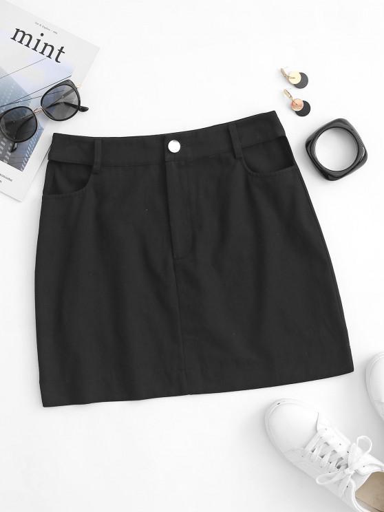fancy Cutout Zip Fly Short Skirt - BLACK S