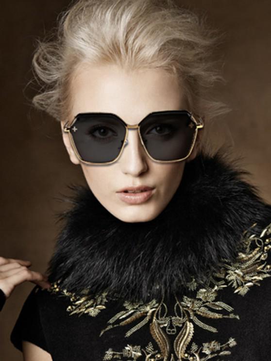 ladies Hollow Out Cross Irregular Sunglasses - BLACK