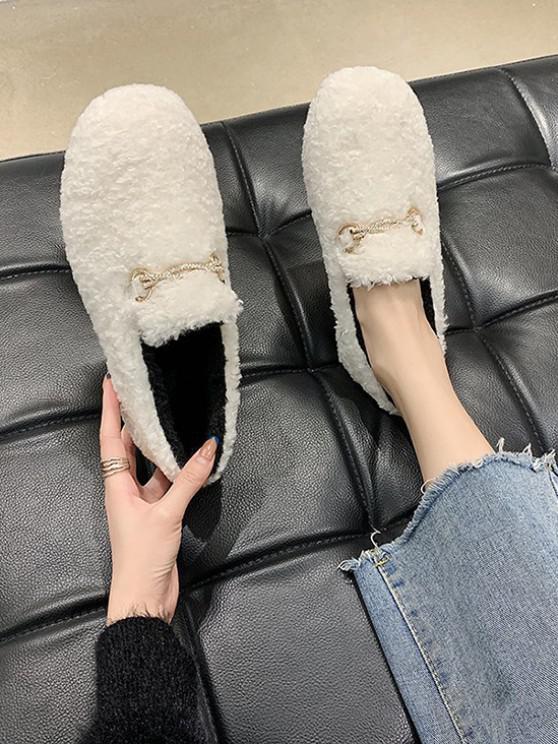 Round Toe Rhinestone Embellished Chain Fuzzy Shoes - اللون البيج الاتحاد الأوروبي 37