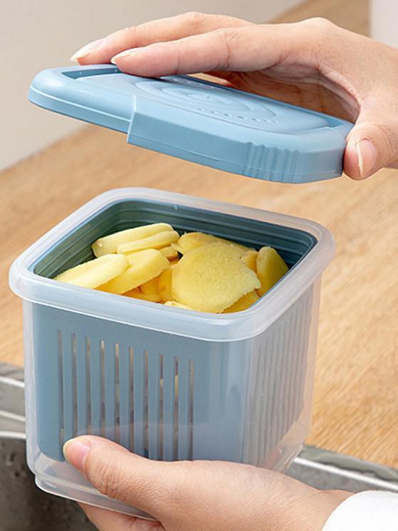 Transparent Double Layer Draining Separated Refrigerator Storage Box - Blauer Efeu