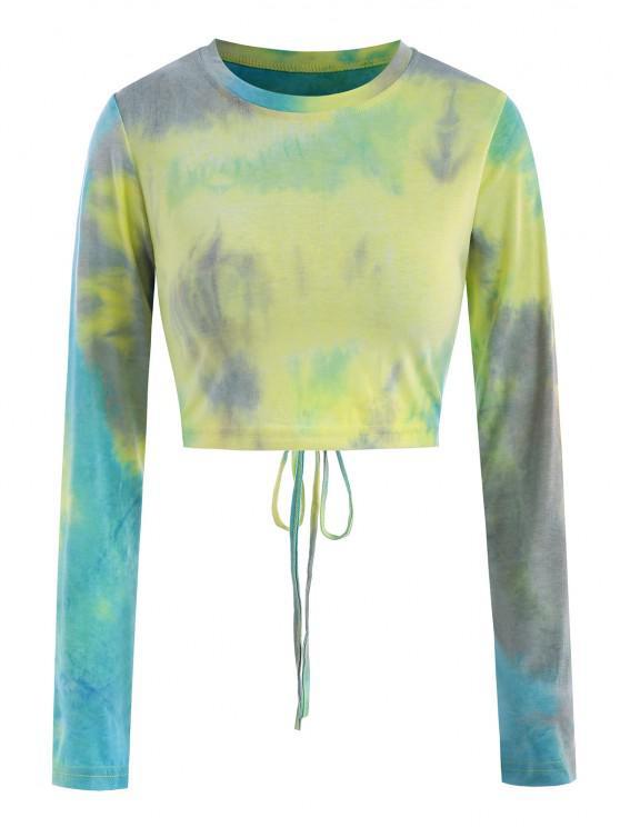 Camiseta Recortada de Tie Dye con Detalle Escotado en Espalda - Azul claro S
