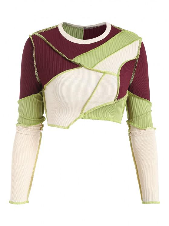 shop Cropped Ribbed Topstitching Patchwork Long Sleeve Top - GREEN L