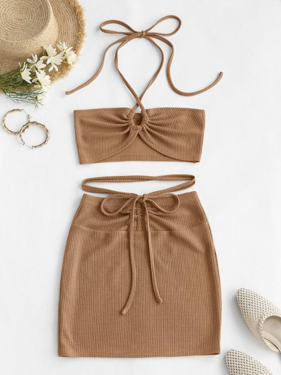 affordable ZAFUL Cinched Cutout Crisscross Knitted Two Piece Dress - COFFEE S