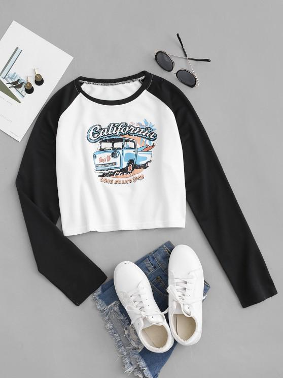 Pickup Graphic Print Raglan Sleeve T-shirt - أسود L