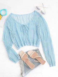 ZAFUL Plus Size Openwork Tie Front Cardigan - Light Blue 3xl