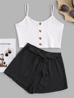 Ribbed Mix And Match Knotted Shorts Set - Black S