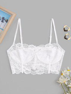 Lace Corset Style Sheer Bralette Top - White S