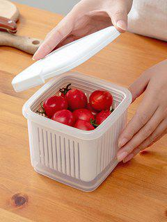 Transparent Double Layer Draining Separated Refrigerator Storage Box - White