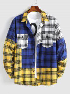 Colorblock Plaid Patchwork Shirt - Yellow L