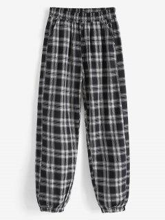 Plaid Print Casual Pants - Black L