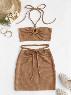 ZAFUL Cinched Cutout Crisscross Knitted Two Piece Dress - Coffee S