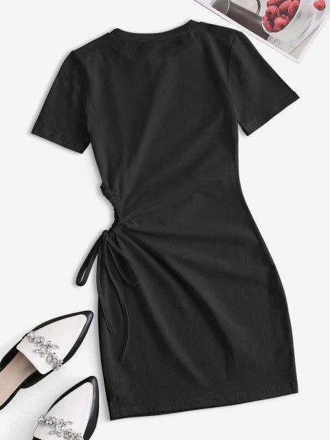Taille Ausschnitt Krawatte Bodycon T-Shirt Kleid - Schwarz S Mobile