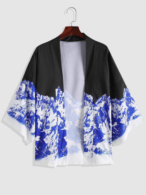 Kokosnussbaumdruck Strand Kimono - Denim Dunkelblau L Mobile