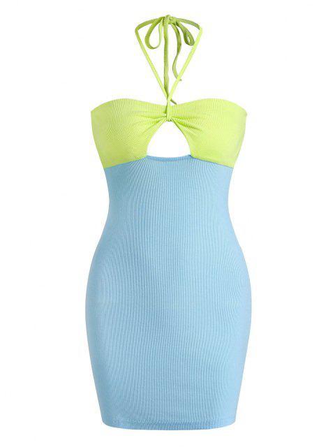 Geripptes Farbblock Neckholder Schlüsselloch Striped-$15off-] Kleid - Blau L Mobile
