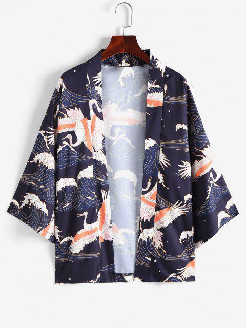 Offener Vorder Meer Welle Kimono mit Offener Vorderseite - Schwarz M Mobile