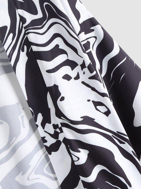 Abstrakter Kimono mit Offener Vorderseite - Schwarz XL Mobile