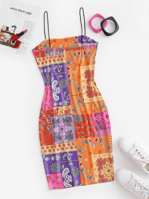 Paisley Patchwork Jersey Kleid - Multi L Mobile