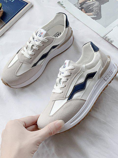 Athleisure Lace-up Spleißte Flache Sneakers - Tiefes Blau EU 37 Mobile