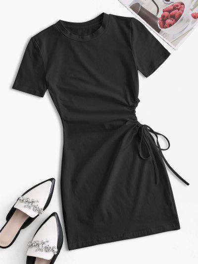 Waist Cutout Tie Bodycon Tee Dress - Black M
