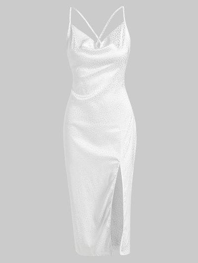 Cowl Neck Leopard Jacquard Split Hem Slinky Dress - White M
