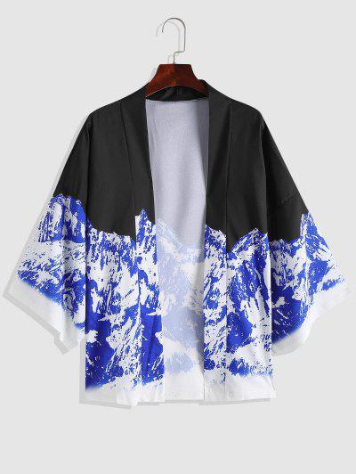 Cardigan Di Chimono Con Stampa Montagna Aperto Davanti - Blu Scura Denim  Xl