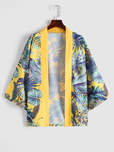 Tropischer Pflanzen Urlaub Kimono - Sonne Gelb Xxl