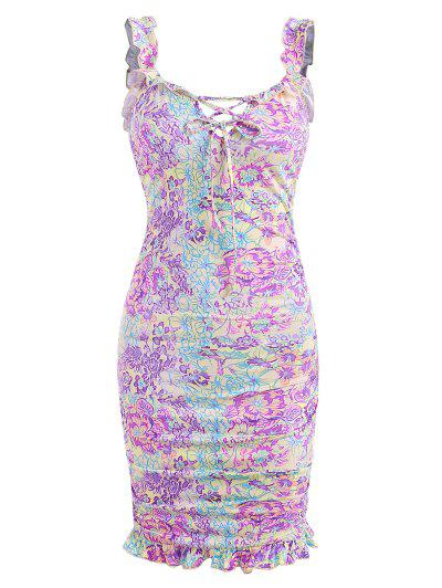 Flower Print Ruffle Ruched Lace Up Slinky Dress - Multi M